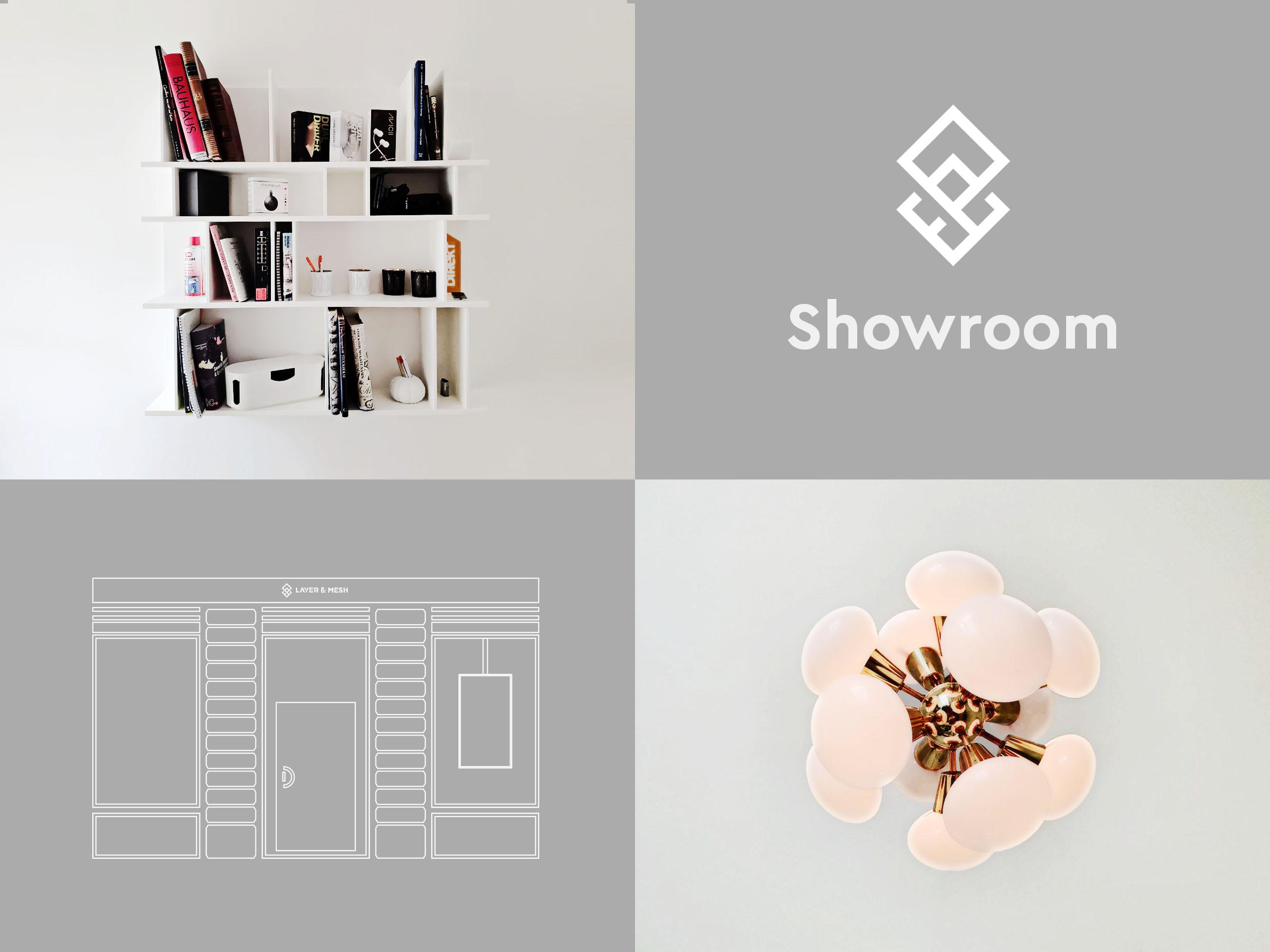 Ett kollage med fyra bilder. En vägghylla med böcker, en logotyp, en animerad bild på showroomets front samt den taklampa som finns i entren.