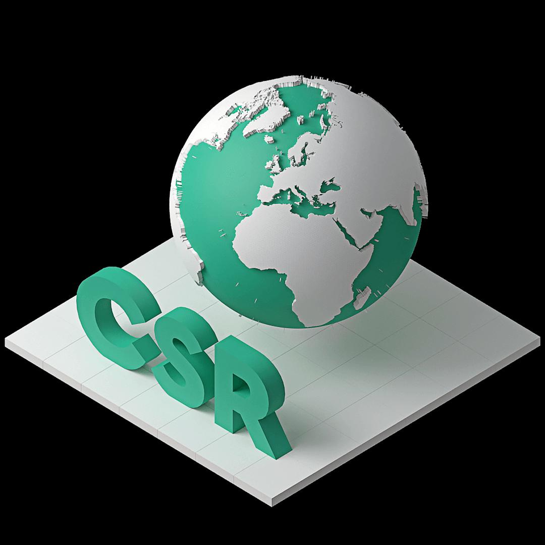 En bild som representerar företags samhällsansvar med en jordglob och initialerna CSR