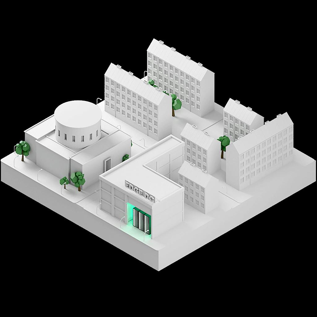 En 3D-modell av en stadsdel med ett datacenter infogat i fasaden på en av byggnaderna.