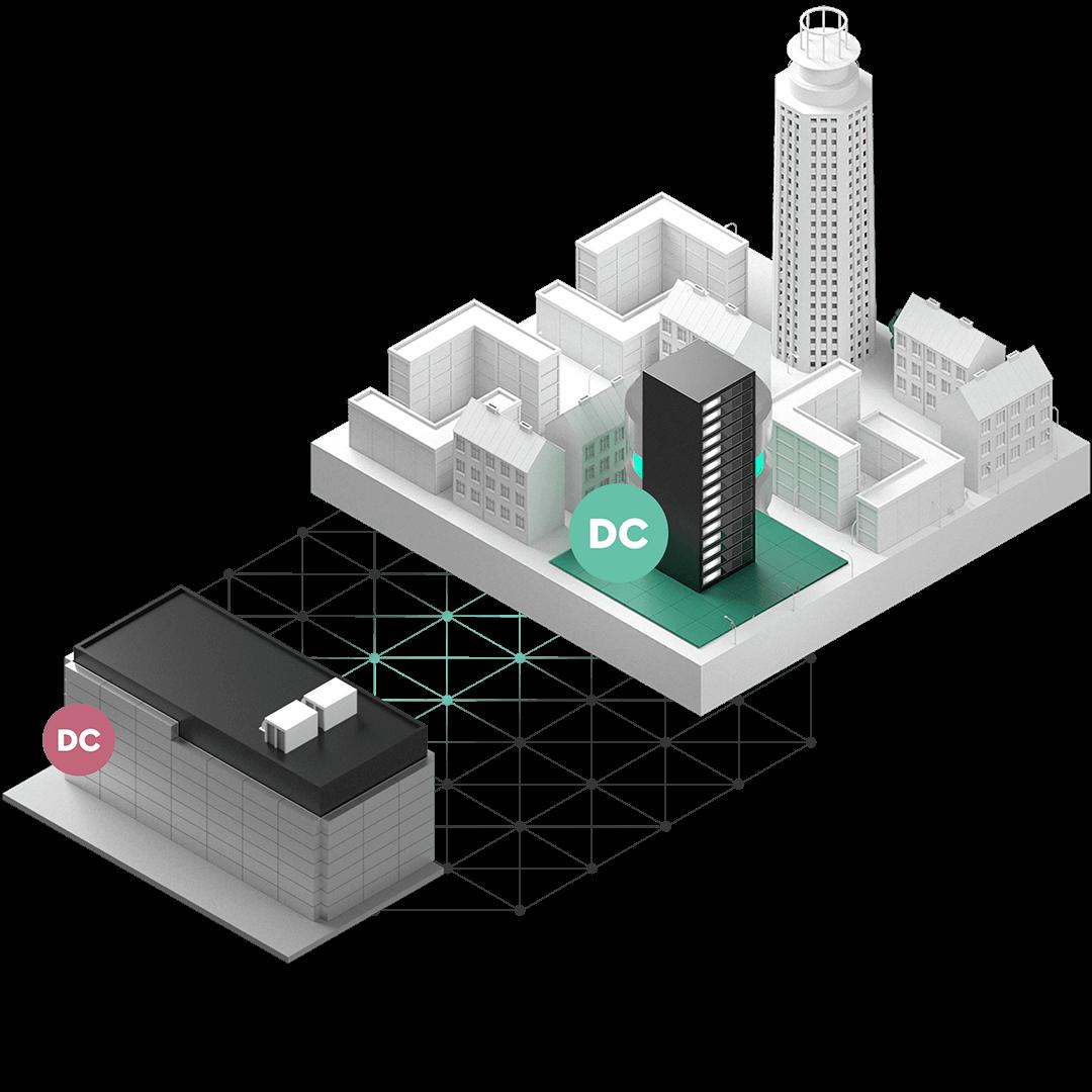 En stadsdel med ett server-rack som sammankopplats med ett dedikerat datacenter över ett meshat fibernätverk.