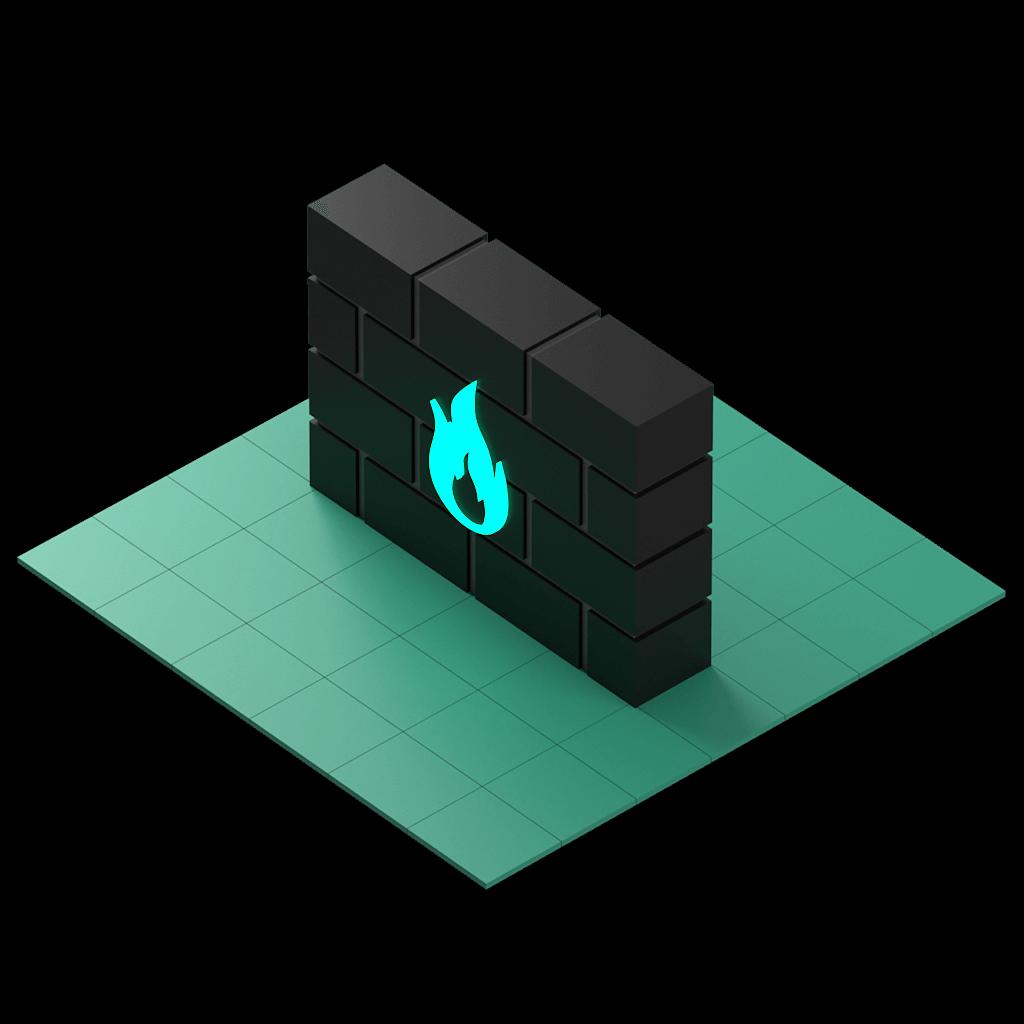 En 3D-modell av en tegelvägg med en brinnande symbol i mitten.