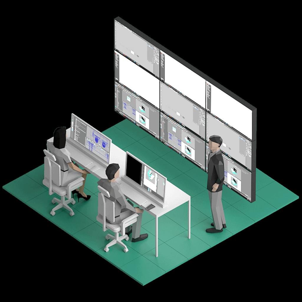Två sittande personer som övervakar utrustning via två monitorer. I bekgrunden finns en större monitor med en person bredvid.