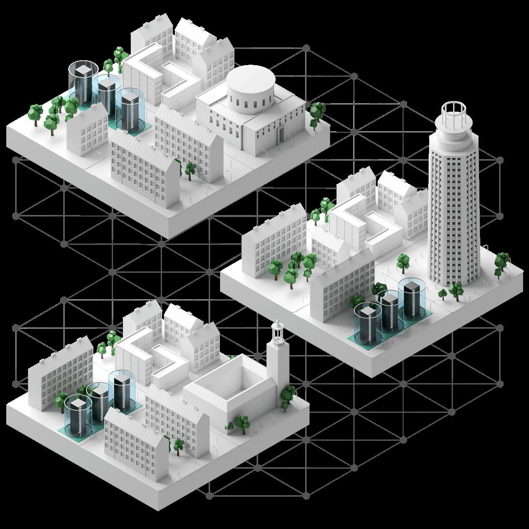 De i stockholm belägna stadsdelarna västermalm, södermalm och norrmalm sammanlänkade över ett fibernätverk. I varje stadsdel står tre server-rack som representerar en del av ett virtualiseringskluster. Racken omges av ett cylindrisk, genomskinligt skyddshölje.