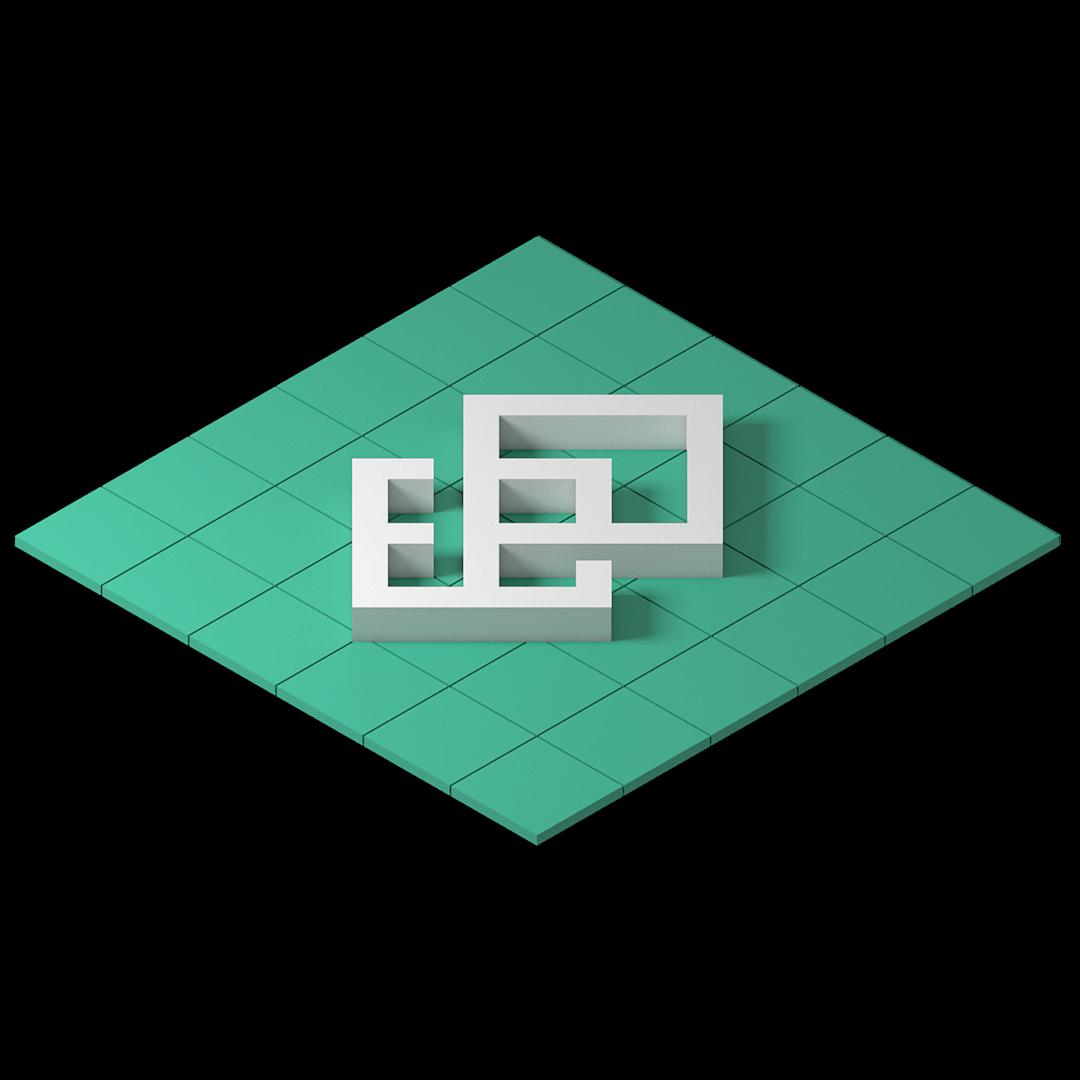 Layer & Meshs logotyp. Liknar ett och-tecken med två kvadratiska rutor som fasats ihop. Den undre representera mesh coh den över plattformslagret.