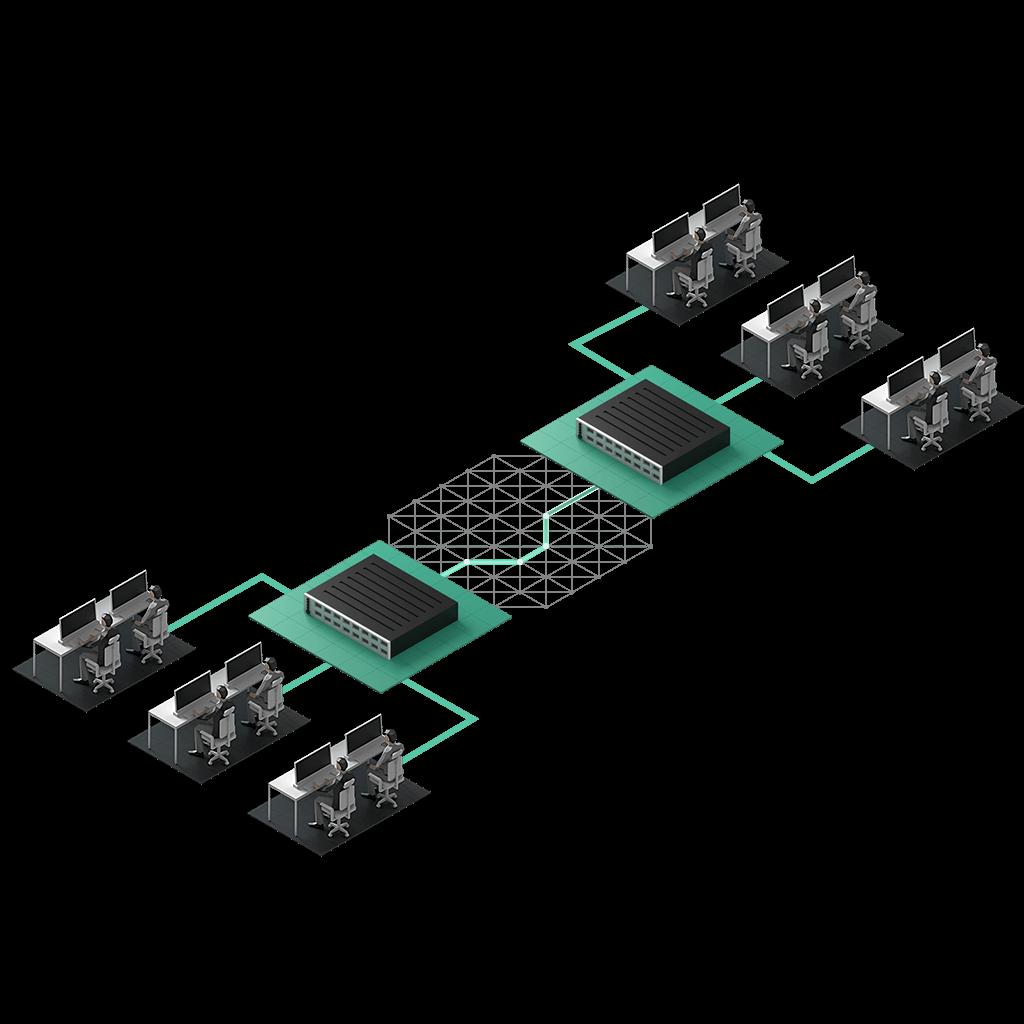 Två kontor med tre olika avdelningar sammankopplas över ett meshat fibernätverk.