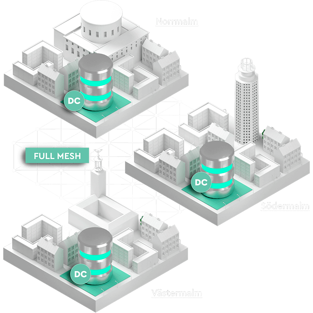 De i stockholm belägna stadsdelarna västermalm, södermalm och norrmalm sammanlänkade över ett fibernätverk. I varje stadsdel står en cylindrisk container som representerar en del av ett lagringskluster.