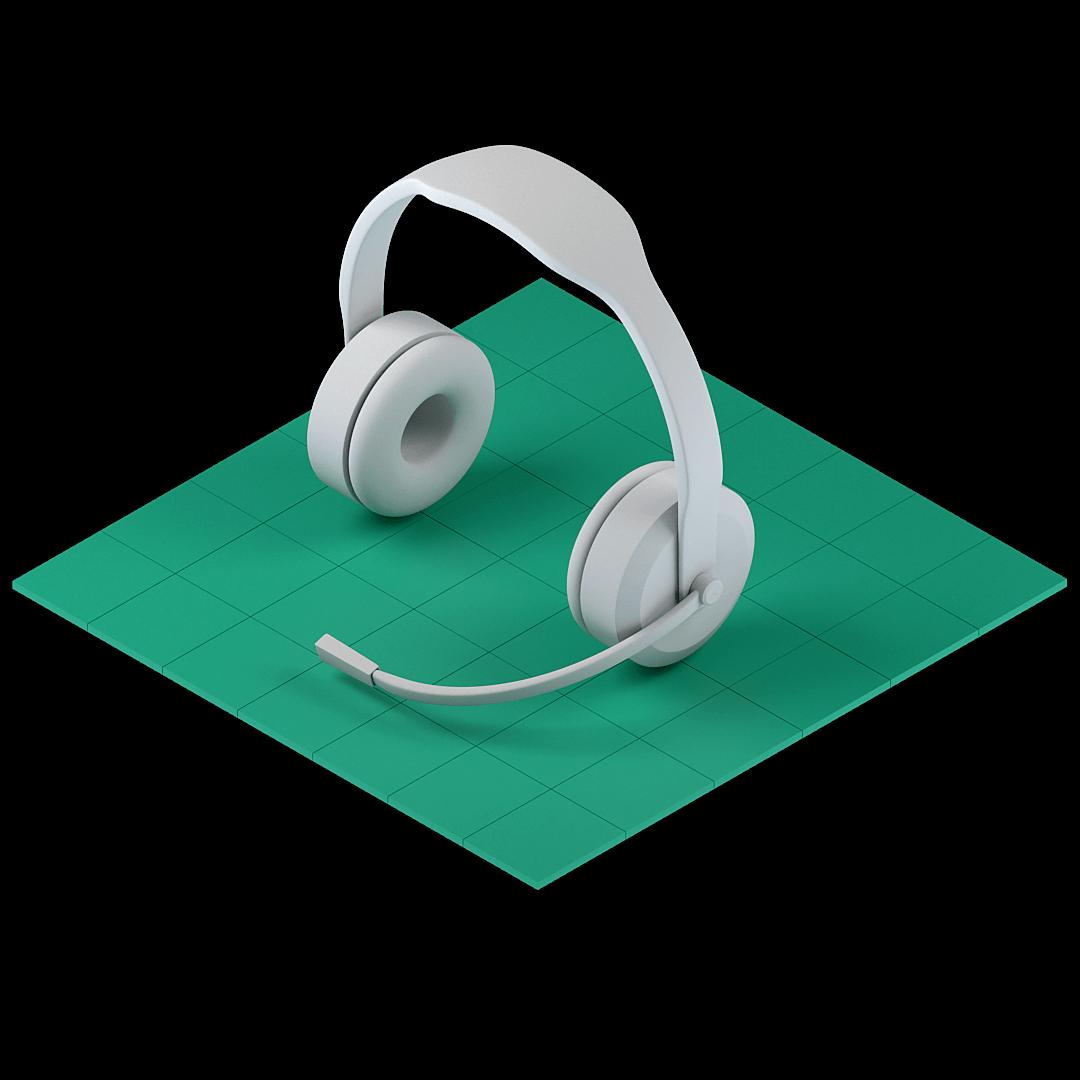 En bild som representerar support med ett headset